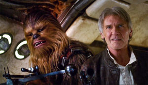 Chewbacca and Han Solo in a still from the Star Wars: The Force