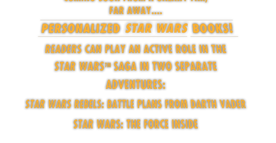 Announcing Personalized Star Wars Titles from Sourcebooks