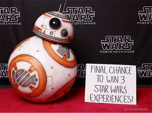 Last Chance to Win 3 Star Wars Experiences from Star Wars: Force for Change and Omaze