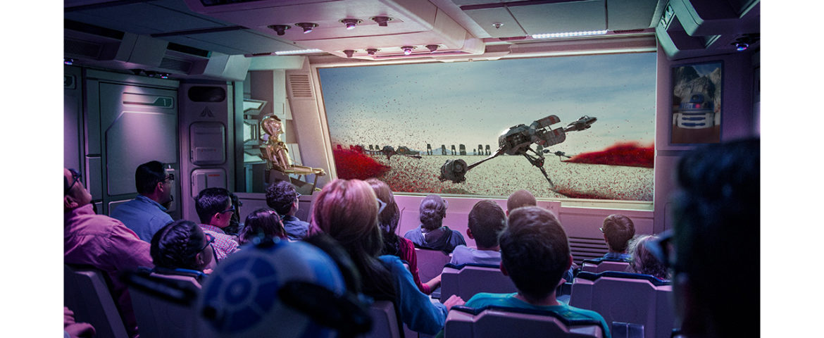 First Look at Disney's New Star Tours Attraction 'Starspeeder Flight Through Crait'