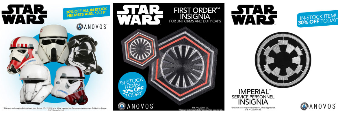 In-Stock STAR WARS Helmets 30% OFF Through 8/19; 30% OFF Uniform Insignia TODAY ONLY — From Anovos!